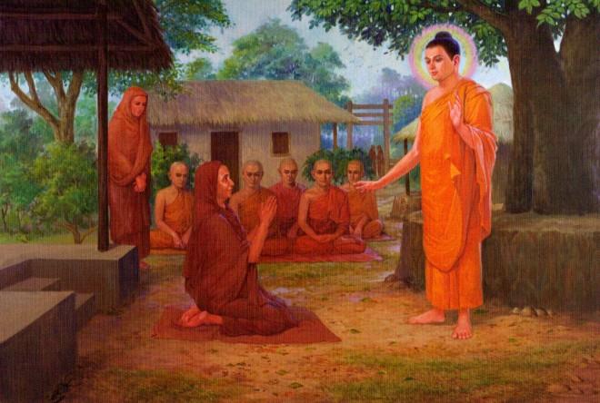 Mahapajapati Gotami melakukan permohonan kepada Sri Buddha untuk memasuki Sangha dan menjadi Bhikkhuni.