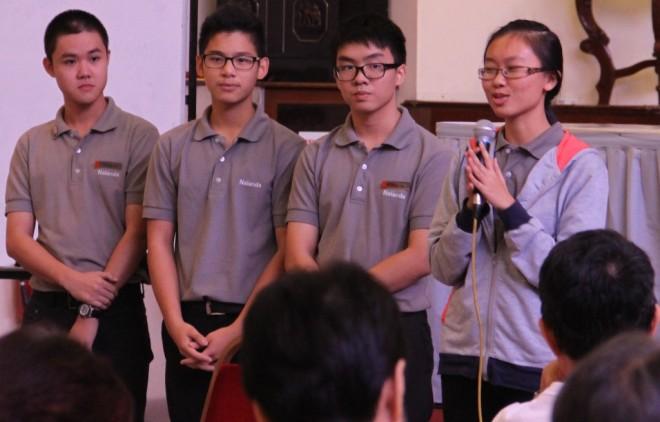 Nalanda Dhamma School students (from right): Liew Qian Yu, Chan Yu, Neville Lee and Ng Jun Yin.