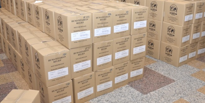 Thousands of boxes of food packages destined for  parts of Southeast Asia to feed the underprivileged.