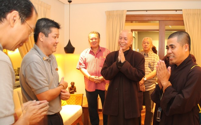 Bro. Vincent Lee (2nd left) and  Bro. Pee (left) welcoming the venerables and other guests.