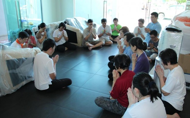 Nalanda founder Bro. Tan leading the squad in reflection and transference of merits daily.