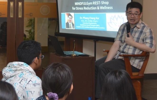 Dr. Phang Cheng Kar conducting his stress-management workshop at Nalanda Centre.
