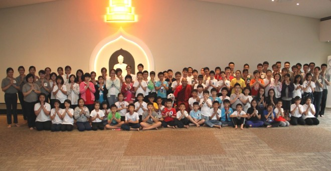 Group photograph of Ven. Sanghasena with Holiday Camp children and Nalandians.