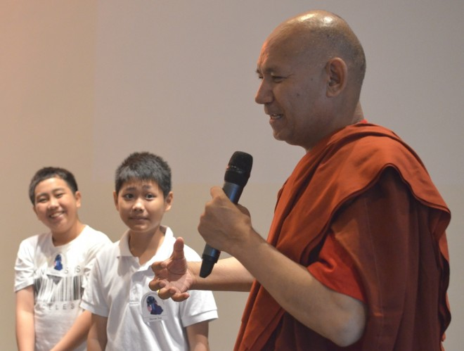 Ven. Sanghasena easily developed good rapport with the children.