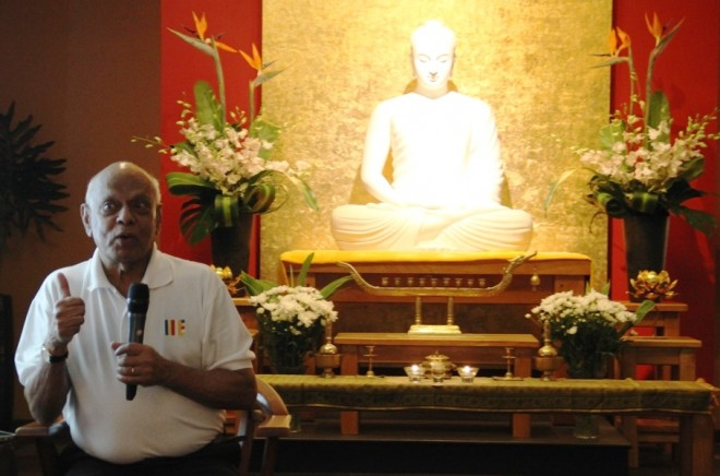 Achariya Vijaya giving a Dhamma talk on the 'Noble Eightfold Path - the Path to Wisdom'.