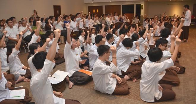 Nalandians in high spirits after listening to an inspiring message by Bro. Tan.
