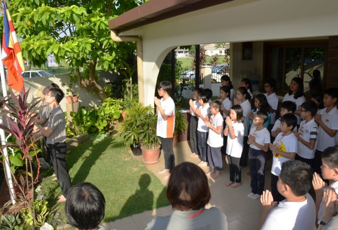 The ceremonial flag-raising to commence the school day.