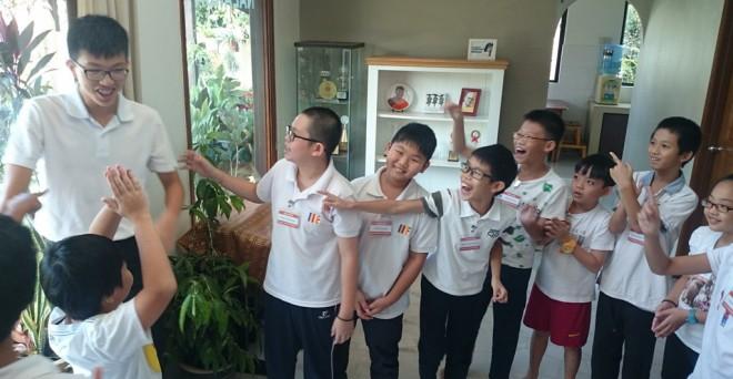 Senior student conducting games for the juniors.