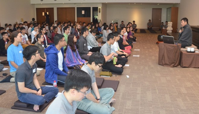 Bro. Tan conducting the one-day D.I.Y. meditation retreat at Nalanda Centre.
