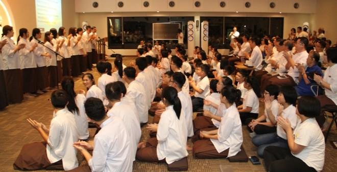 Facilitators performing at the assembly.