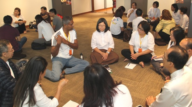 Group discussion on living in harmony.