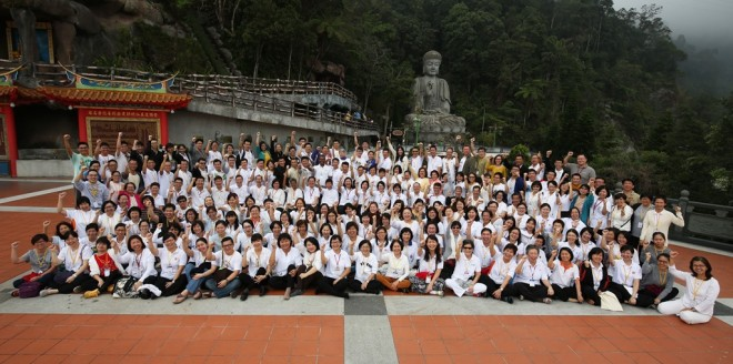 """Participants who camped in Genting Highlands on 18-2- March to discover how to """"live in accordance with Dhamma"""" at Nalanda's Dhamma-Living Camp 2016."""