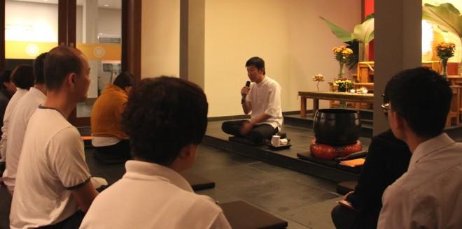 Bro. Tan giving a teaching during the Uposatha Service.