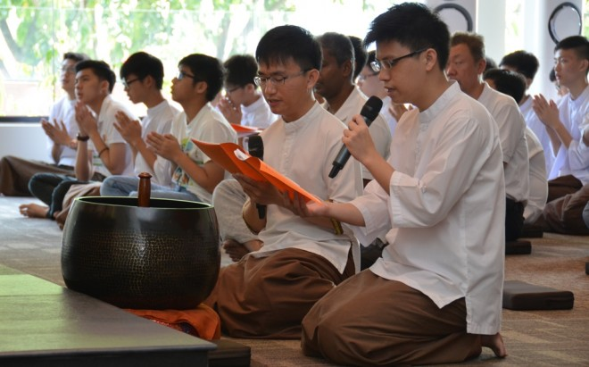Nalanda youths leading the chanting during Service Sunday.