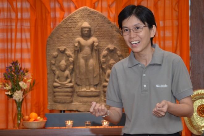 Sis. Santi Cheang giving a sharing based on the  Ambalatthikārāhulovāda Sutta.