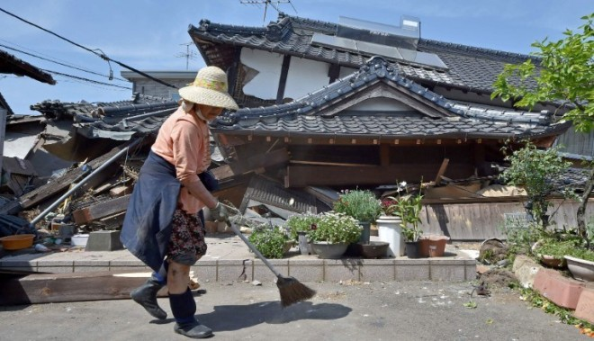 The aftermath of the earthquake in the town of Mashiki in Japan.