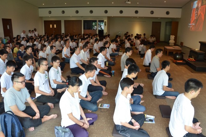 The service began with meditation.