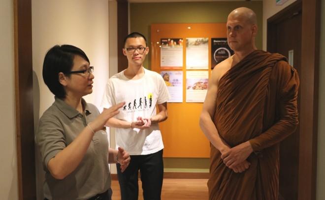 Ajahn Chandako was given a tour of Nalanda Centre.