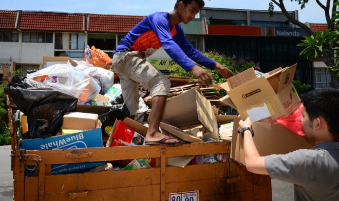The recyclable items were sold and taken away by lorry.
