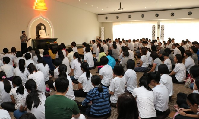 A large congregation gathered for this morning's Service at Nalanda Centre.