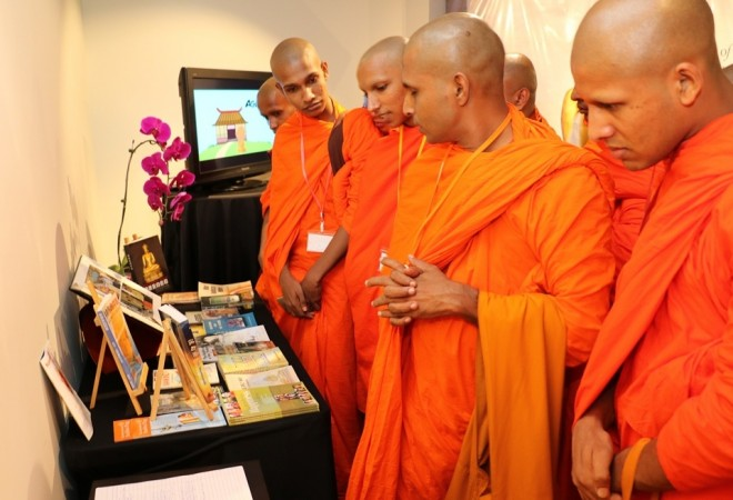 A group of scholar-monks from Sri Lanka visiting the exhibition.