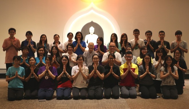 Photograph of the meditation course instructor and students at Nalanda Centre.