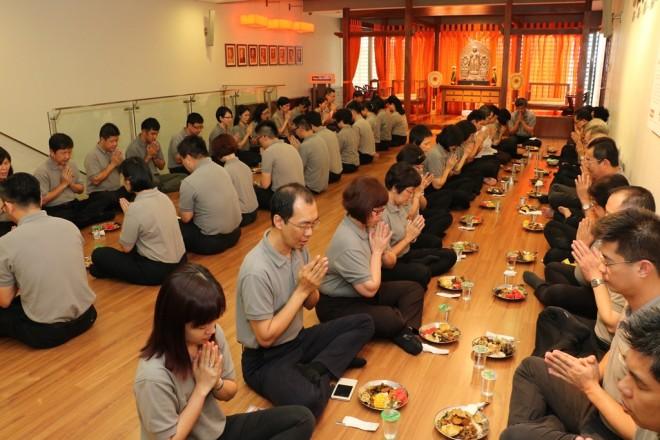 Nalandians having communal lunch.