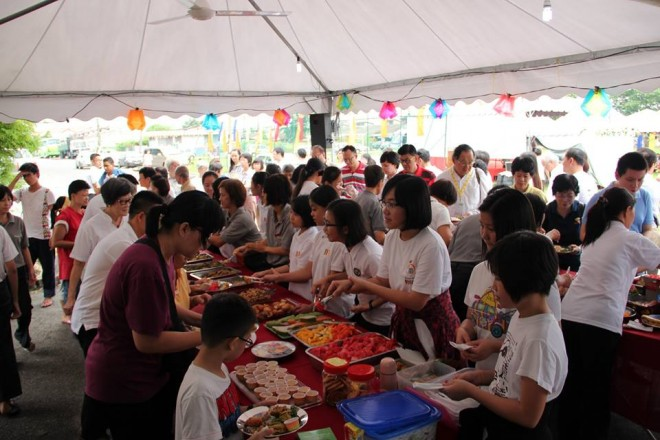 Food offering on Wesak 'Buddha Day'.