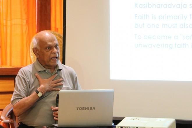 Achariya Vijaya giving the talk on 'Faith and Devotional Practice'.