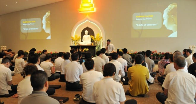 Devotees attending a sutta study session conducted by Bro. Tan on Wesak Buddha Day.