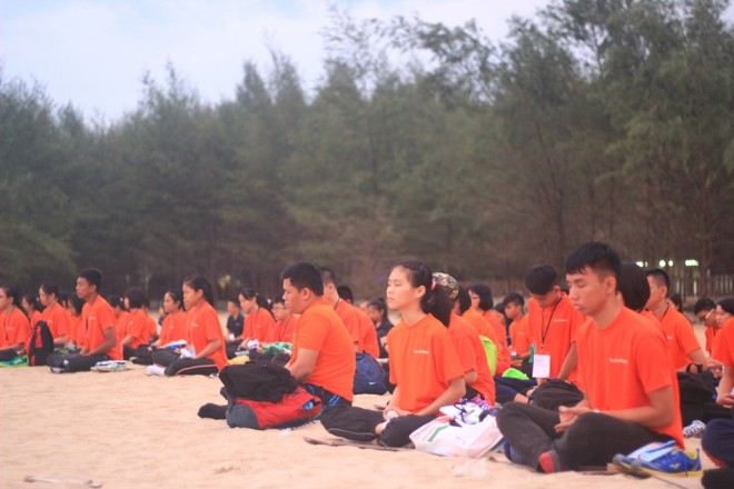 Meditation session on the beach.