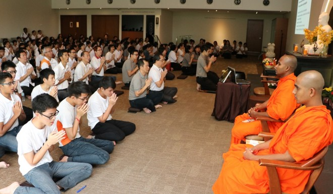 Two members of the Sangha joined Nalandians for the Wesak Day service.