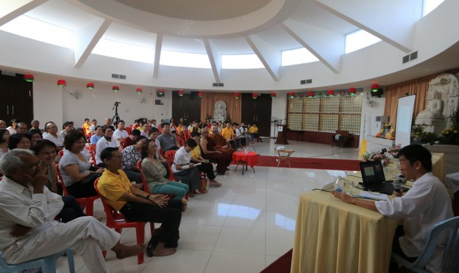Bro. Tan speaking about the arrival and spread of Buddhism in Southeast Asia.