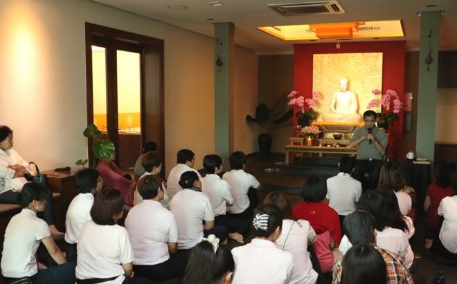 Simultaneous English and Mandarin talks at the 'Buddha Day' morning Service.