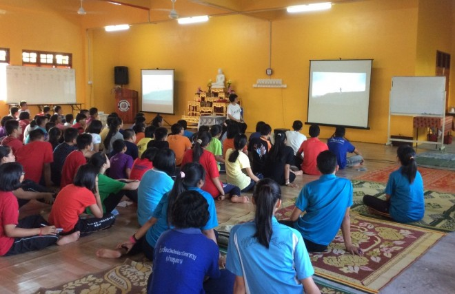 Sis. Sunanda giving a talk to the campers.
