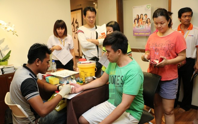 Blood sampling and testing station. This year, more than 120 bags of blood were collected in five hours.