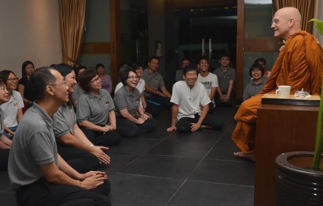 Ajahn Vajiro warmly welcomed at Nalanda Centre.
