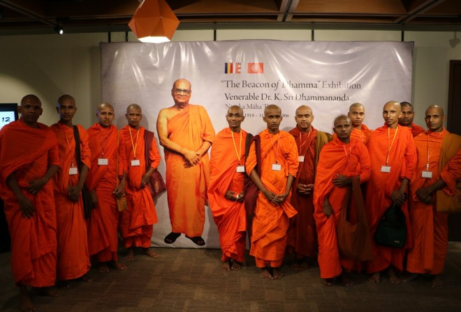 "The venerable monks at the ""Beacon of Dhamma"" exhibition."