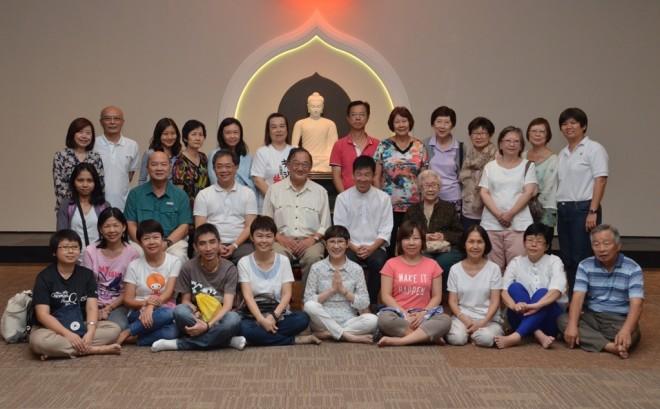 Our Singaporean friends having a group photograph at Nalanda Centre with Bro. Tan.