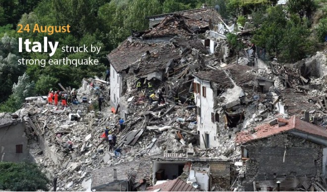Italy struck by earthquake on 24 August.