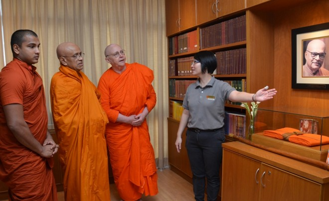 After dāna, venerable Sangha members were brought by Sis. Nandini on a tour of Nalanda Centre .