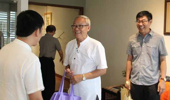 Bro. Tan welcoming the TBCM leaders on their courtesy visit.