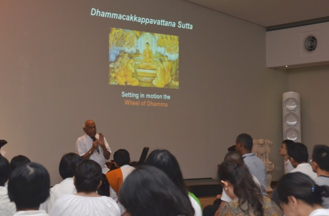 Achariya Vijaya commenting on the Buddha's first sermon.