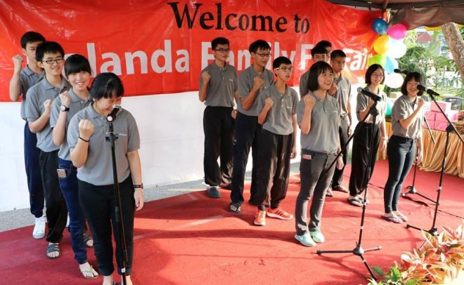 Students performing their energetic opening number.