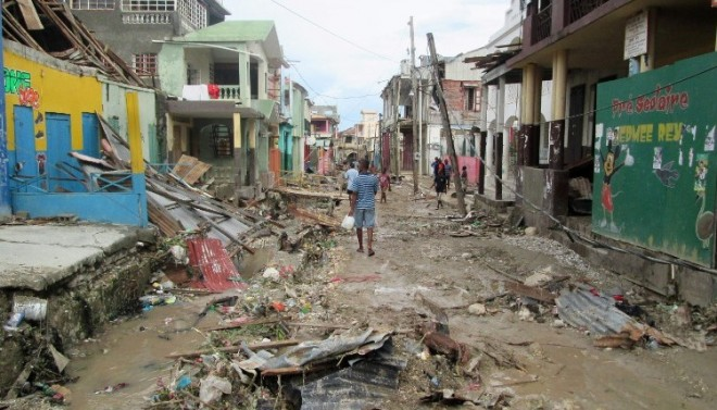 "The hard-hit town of Jeremie which bore the brunt of ""Matthew""."