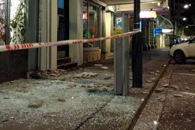 Damaged shopfronts in downtown Christchurch.