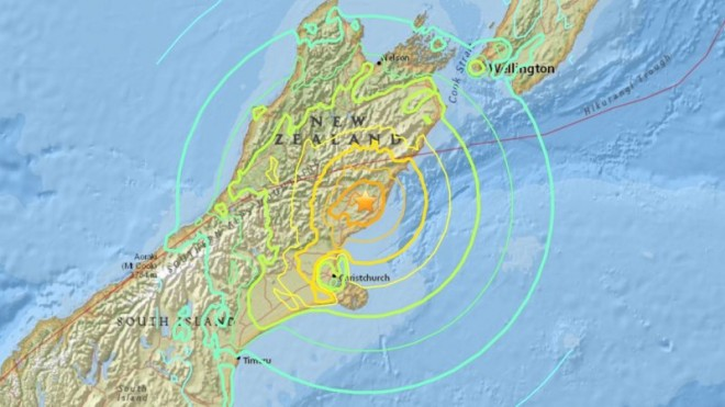 Epicentre of the earthquake – 95km from Christchurch on South Island.