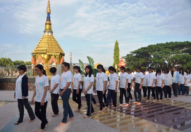 Walking meditation to promote mindfulness-training.