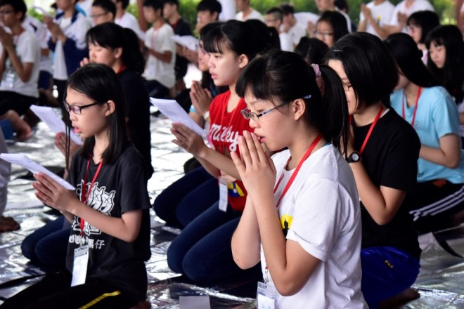 The youths participate in chanting twice daily.