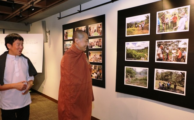 Ven. Aggacitta was at Nalanda Centre on the eve of the exhibition.